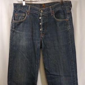 7 For All Mankind Button Fly Relaxed Blue Jeans